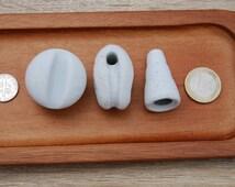3 Ceramic insulator/ Insulator ceramic sea glass piece/ Tumbled beach pottery bottle top/ Beach found ceramic / White ceramic insulator
