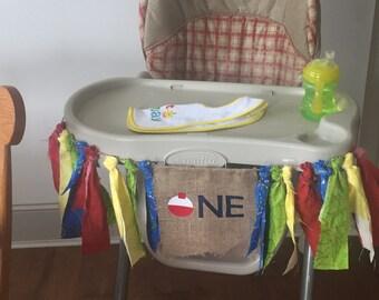 Fishing theme high chair banner