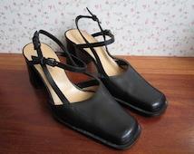 Deadstock Vintage Costume National Guardi Shoes Black Tan Leather Slingbacks Strappy Pumps Gian Marco Benatti Italy Italian Design 90s