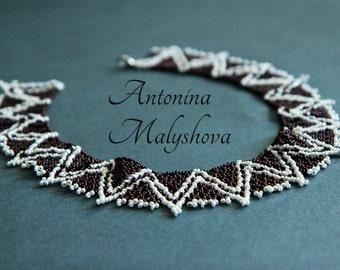 "Handmade beaded collar necklace ""Zigzag"""