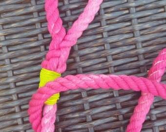 dog leash, watermelon hand dyed