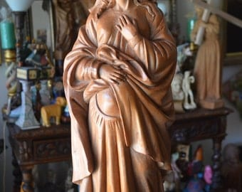 Hand Carved Wood virgin mary pregnant madonna statue sculpture religious Spanish colonial art, Our lady of the hope