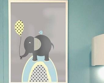 Elephant Nursery Print //personalised