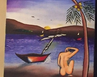 Original Painting - Lady by the River in Caribbean Sunset
