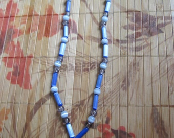 Blue glass, Quartz, and light blue catseye glass beaded necklace with agate pendant - 18 1/2 inches
