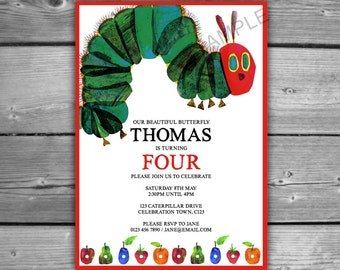 Very Hungry Caterpillar Personalised Invitation - DIGITAL - Printable - Very Hungry Caterpillar Party 1st 2nd 3rd 4th Personalized Invite