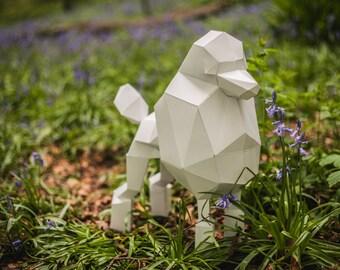 Paper Poodle, Papercraft Template, DIY Paper Pet Dog
