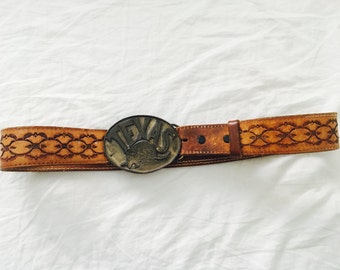 Vintage Leather Belt with Texas Armadillo Buckle