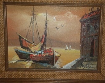 Sea Harbor small colorful details. Artist Rolland masterful oil on canvas painting