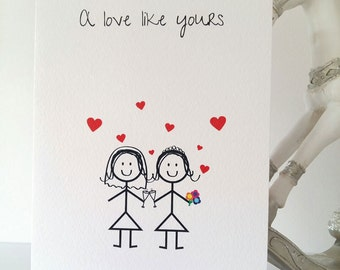 Gay Wedding Card, Bride and Bride, Mrs & Mrs, Gay Wedding Card, Wedding, Love, Gay Wedding, LGBT, Gay marriage, Stickmen, Handmade Active