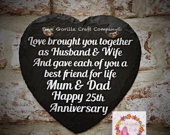 Slate Heart Personalised Anniversary Message