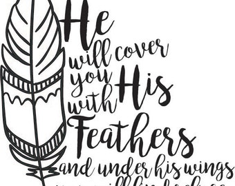 He will cover you with his feathers Bible Verse Psalm 91:4 Decal