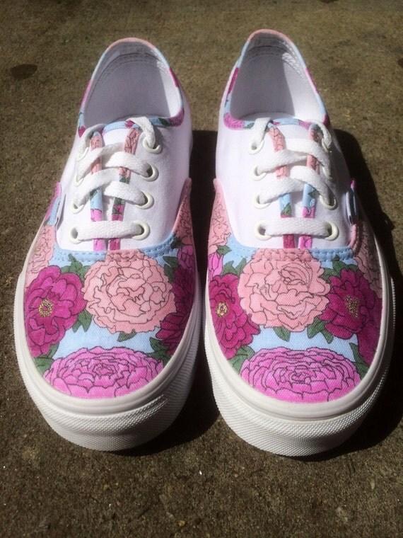 Custom Wedding Shoes Vans or Keds Floral Hand-Drawn