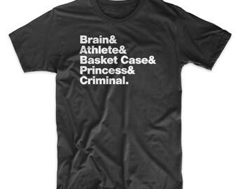 Breakfast Club T-Shirt. On Black, White, Gray or Red Soft Cotton Shirt. 80's Movie Shirt.