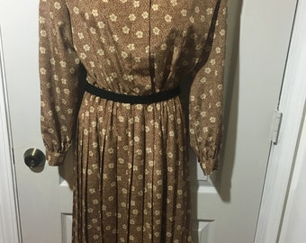 Leslie Faye Brown & Yellow Vintage Dress. Mint Condition.