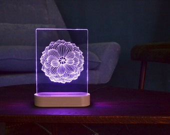 Lotus Mandala acrylic 3d LED Lamp, Bedroom Lighting Decor, Modern Desk Lamp, Bedside Night Light, Table Lamps, Decorative Design Lights