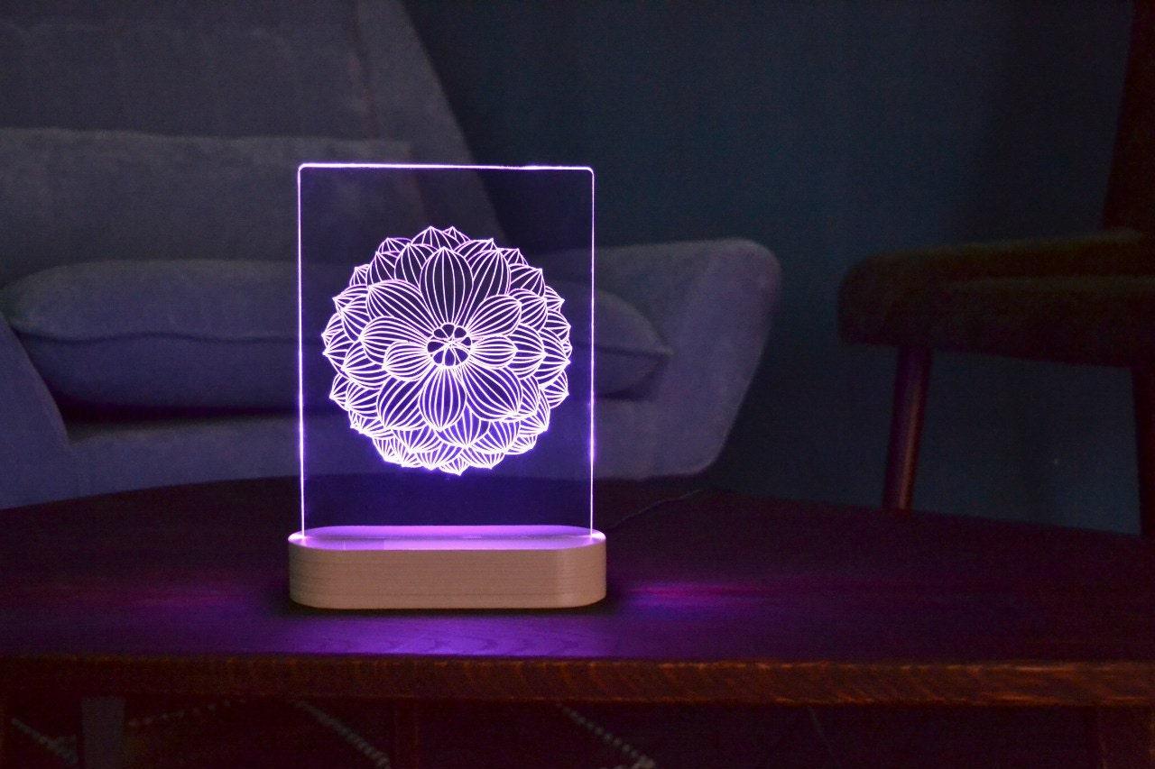 Lotus mandala acrylic 3d led table lamp bedroom night light for Light up flower lamp