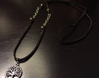 Brown Leather Tree of Life Necklace