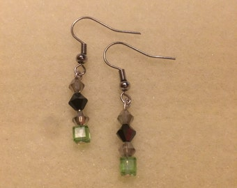 Green and Black Swarovski Earrings