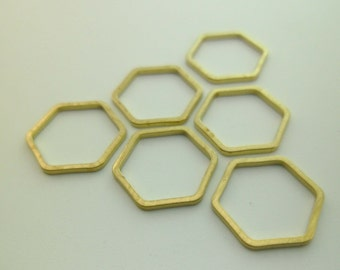 50pcs 12mm Raw Brass Geometry Minimal Hexagon Charms Links Connectors Lead 1mm Thick Lead Nickel Chromium Free 0103-0135