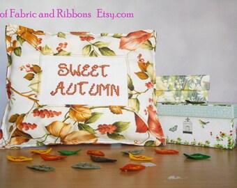 Pillow. Throw pillow. Mini pillow. Autumn pillow. Decorative pillow. Cross stitched pillow. Sweet autumn pillow.