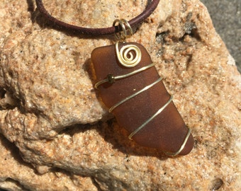 Gold wire wrap sea glass necklace