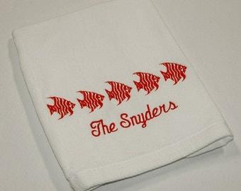 Personalized Nautical Themed 5 Fish Premium Velour Hand Towel