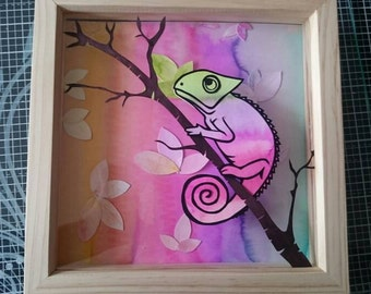 Adisa - my hand cut and hand painted paper chameleon