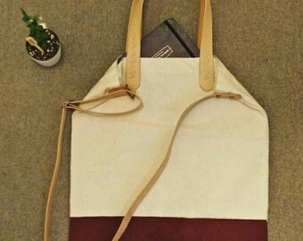 Leather Handle Canvas Crossbody + Tote