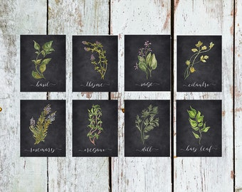 Herb Printable Set of 8 / Rustic Kitchen Decor / Watercolor Botanical Herb Prints / Instant Download Herb Print Set of 8 / Chalkboard Print