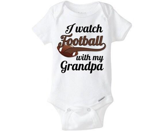 Grandpa Baby Outfit Grandpa Baby Bodysuit Grandpa Baby: I Watch Football With Grandpa Cute Baby Onesie By BargainBella
