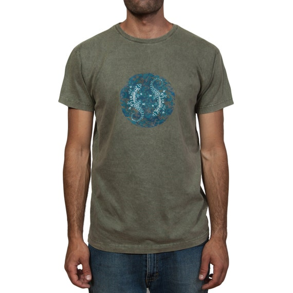 Stonewashed T-Shirt - Ethnic Lizards in a Circle