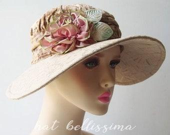 SALE Khaki 1920's Cloche Hat Vintage Style hat party hats hatbellissima ladies' and misses' hats millinery