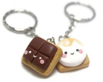 BFF keychains S'mores set best friend keyrings bff necklace kawaii polymer clay friendship food gift for friends cute gift