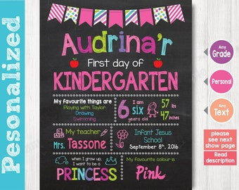 First Day of School Sign - First Day of Kindergarten Chalkboard Sign Printable Photo Prop - Personalized Back to School Pink - ANY GRADE