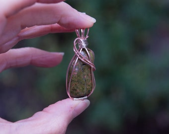 Unakite handmade pendant in rose gold with non-tarnish silver accents