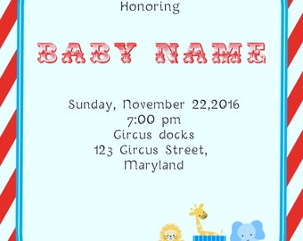 Circus Baby Shower Invitations -BSI_CCS_09