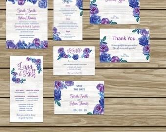 Purple and Blue Floral Wedding Set DIGITAL FILE