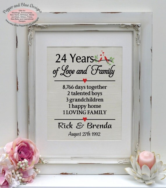24th anniversary, anniversary gift for parents, 24 years together ...
