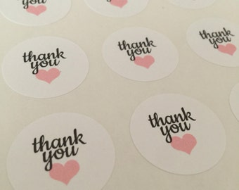 Pink Hearts Thank You Stickers