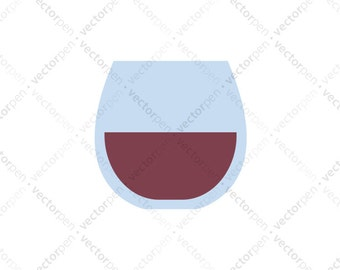 Red Stemless Wine Glass SVG. Scrapbooking and Cricut Clip Art. Digital Download