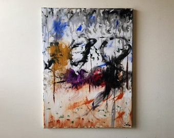 """Colorful Abstract Acrylic Painting """"Playground Bliss"""" (24""""x18"""") fantasy art for the kids room, office, home decor, modern home"""