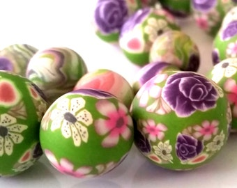19 polymer clay beads rose violet, green