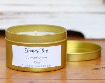 Strawberry Scented 100 Grams Natural Soy Wax Candle in Gold Tin