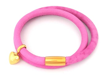 Leather Double Wrap in Pink
