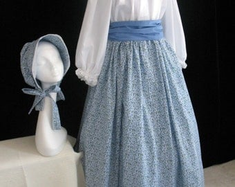 New Adult Colonial Prairie Dress with Bonnet Costume