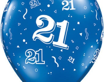 """6 x 11""""  21st  Latex Balloons in Sapphire Blue by Qualatex Adult's Birthday"""