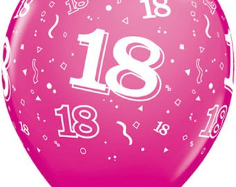 """6 x 11""""  18th  Latex Balloons in Wild Berry by Qualatex Adult's Birthday"""