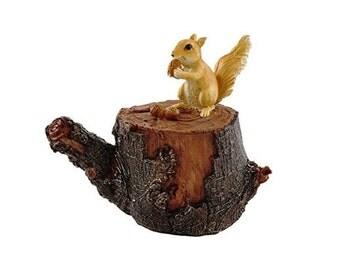 Squirrel on Tree Stump ~ miniature enchanted fairy garden