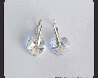 Earrings Swarovski heart silver